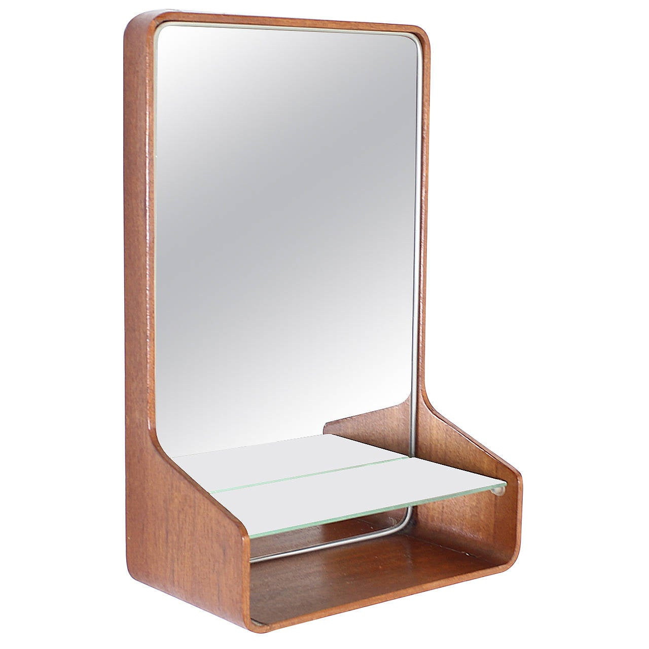 Friso kramer small teak plywood wall mirror for auping for Small wall mirrors