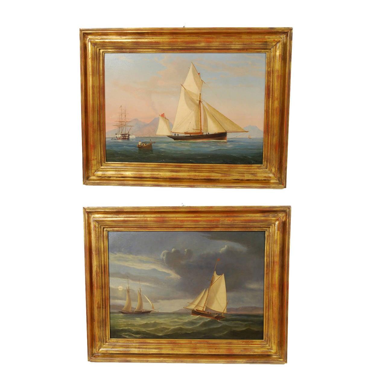 1862 De Simone Pair of Oil on Canvas Paintings