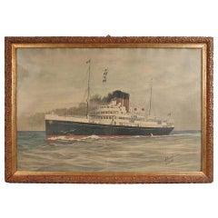 Portrait of the Duc D'aumale Transatlantic, Wash Drawing and Pastel, 1914
