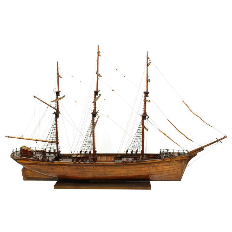 Antique Brig with Planking Hull, Oiled Teak, Late 18th Century