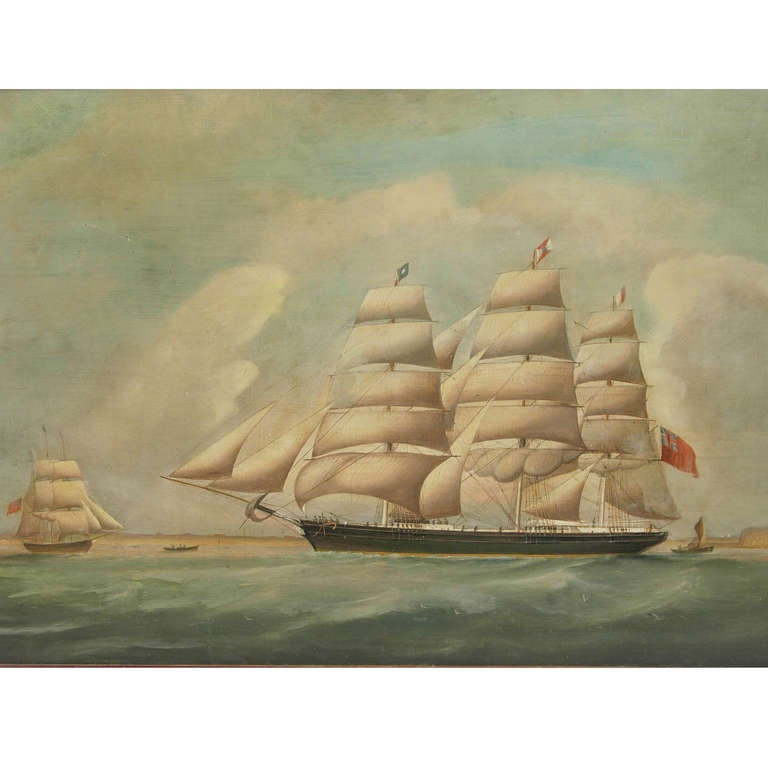 Ship portrait, oil on canvas, first half of the 19th century; in the background there are a smaller ship, two small boats and a port. Very good condition, a few restorations. Measures: Cm 92 x 60, inches 36 x 24.