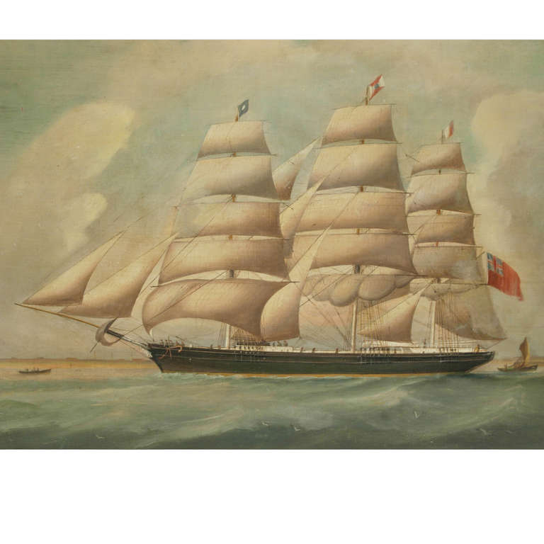British Ship Portrait, Oil on Canvas, First Half of the 19th Century