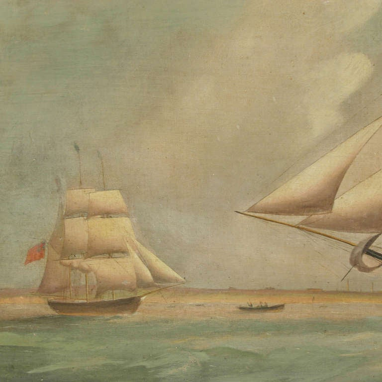 Ship Portrait, Oil on Canvas, First Half of the 19th Century In Good Condition In Milan, IT