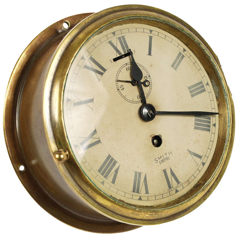 Brass Nautical Clock With Spring Wound And Signed Smith