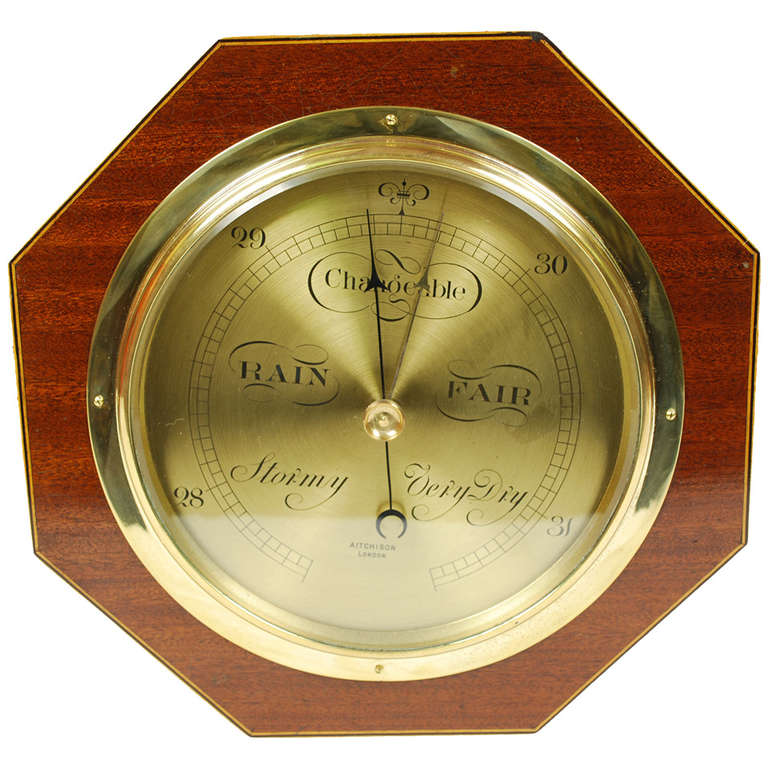 Aneroid Octagonal Barometer Signed Aitchison London, 1920s