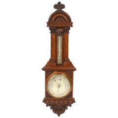English Oak Barometer Richly Carved, Early 1900