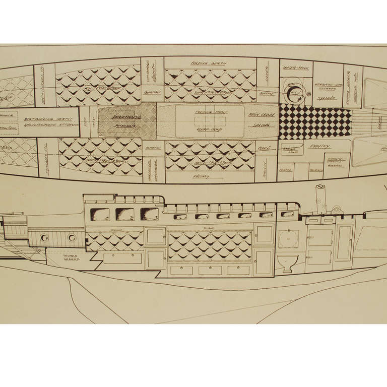 Project coming from the archives of Uffa Fox and never entered the commercial circuit depicting the interior of the boat Bacchant in 1:20 scale, with the designer's autograph dated 1935-1936. Cm 101 x 38.6 (h), inches 39.76 x 15.19 (h).   Bacchant