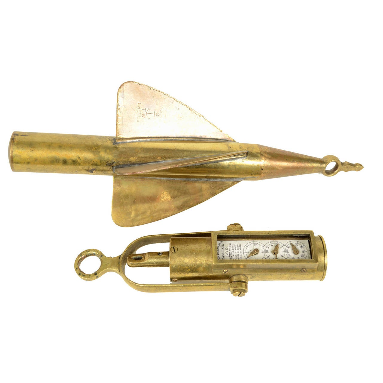 Traffail ship Log, brass, signed John Bliss & Co. Patented Nov. 15 1864, made in USA in 1880 circa, complete with a small propeller. It is an instrument used to measure the speed and the distance traveled by a ship using a dial with three scales on