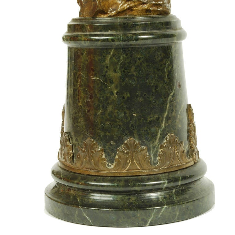 Bronze Eagle On Marble Base, First Half Of The 19th