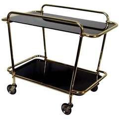 Italian 1950s Brass & Black Glass Bar Cart Tea Trolley Serving Cart