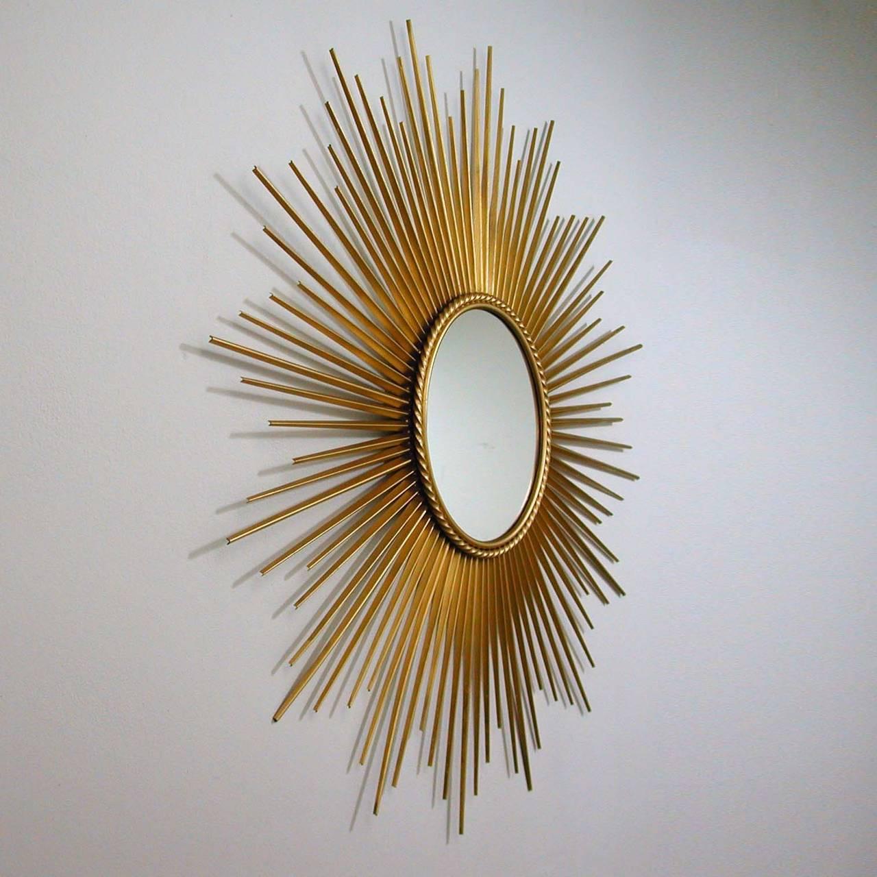 Large french chaty vallauris gilt sunburst starburst wall for Sunburst mirror