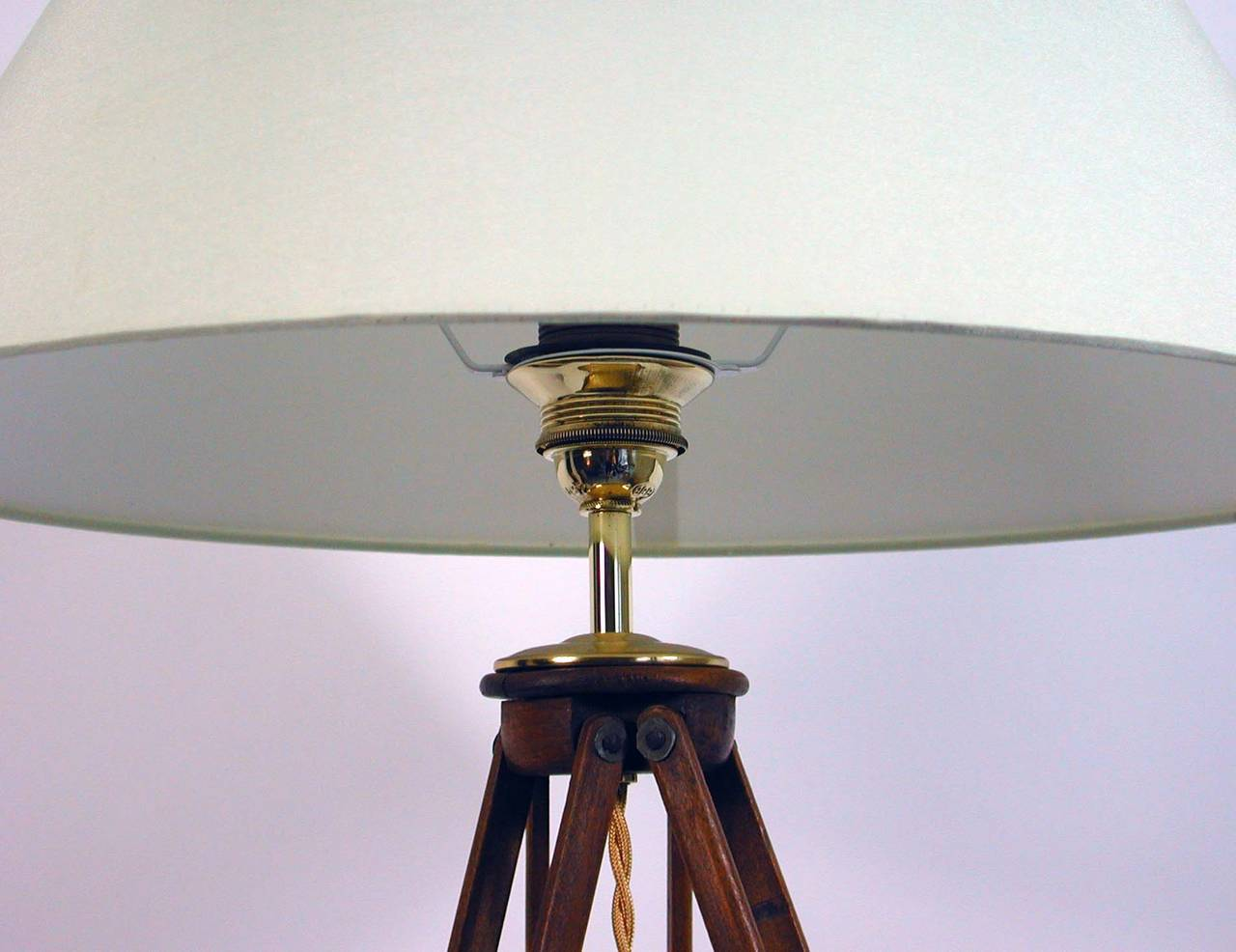 Vintage wooden tripod floor lamp for sale at 1stdibs awesome vintage adjustable floor lamp made from a 1930s antique photographer tripod walnut wooden base aloadofball Image collections