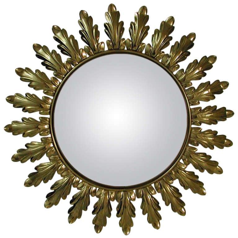 Convex Wall Mirror mid-century 1950s french sunburst starburst gilt convex wall