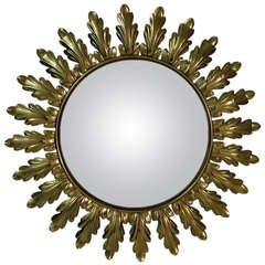 Mid-Century 1950s French Sunburst Starburst Gilt Convex Wall Mirror