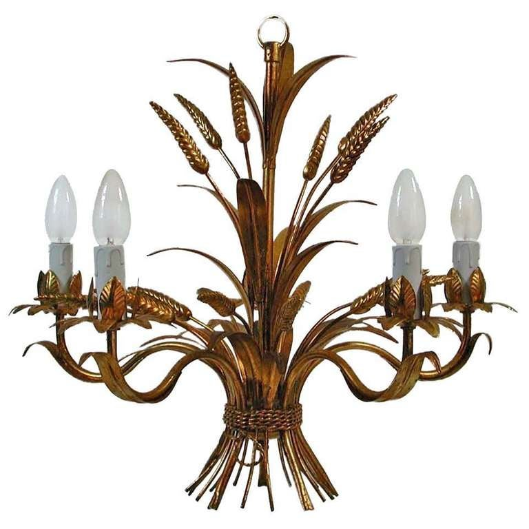 French 1950s Five Arm Gilt Sheaf Of Wheat Chandelier Hollywood