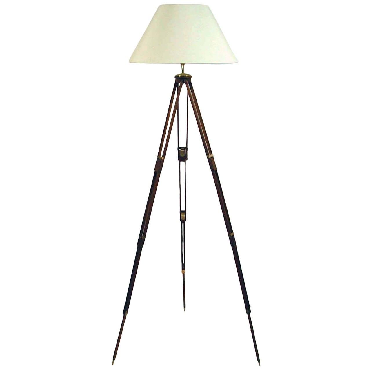 Vintage wooden tripod floor lamp at 1stdibs for Antique wooden floor lamp base