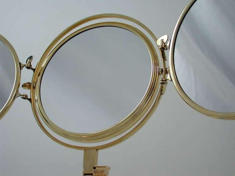 Mid Century 1950s Italian Triple Brass Folding Vanity