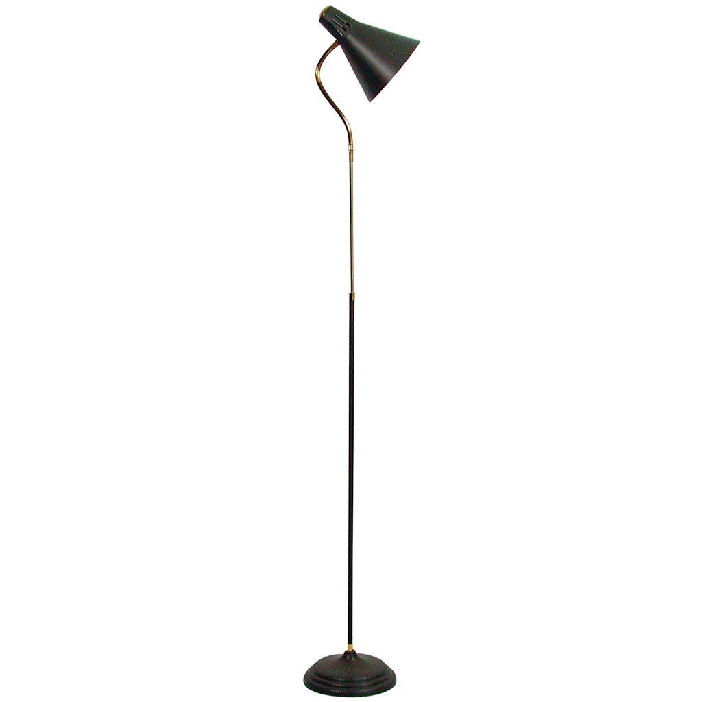 Italian 1950s mid century gooseneck floor lamp in the for 1950 floor lamp