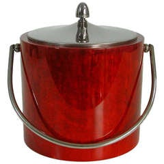 Mid Century 1950s Italian Red Aldo Tura Goatskin Ice Bucket