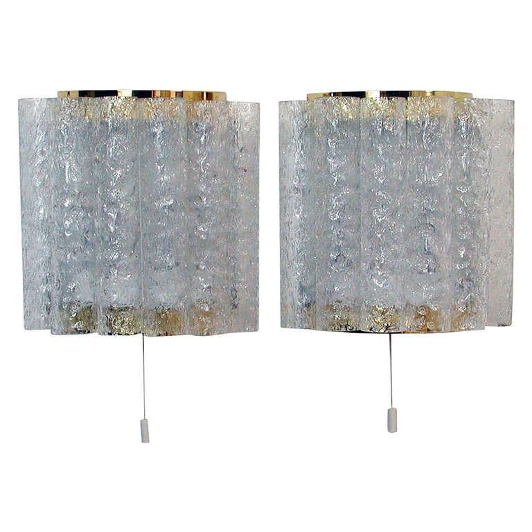 Wall Sconces Mid Century Modern : Pair Mid Century Modern Ice Glass Tube Wall Lamps Sconces by Doria at 1stdibs