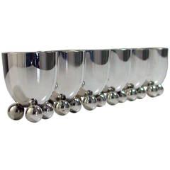 Six WMF Art Deco Silver Plate Egg Cups by Fritz August Breuhaus de Groot