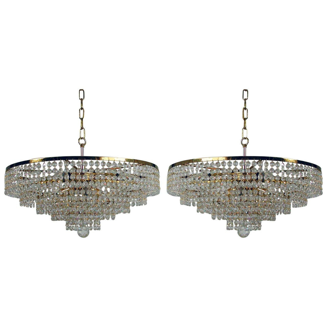 Pair 1960s Ernst Palme Crystal Glass Chandeliers For Sale