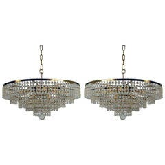 Pair of 1960s Ernst Palme Crystal Glass Chandeliers