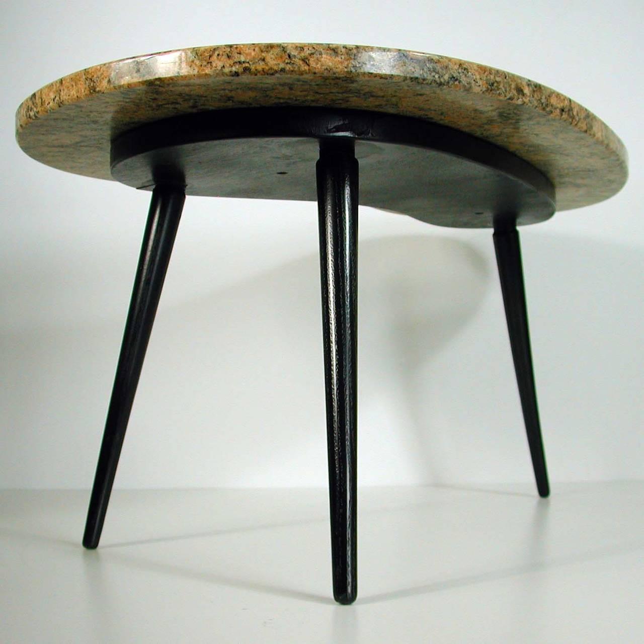 Marble Kidney Coffee Table: 1950s, Italian Kidney-Shaped Giallo Venezia, Marble Side