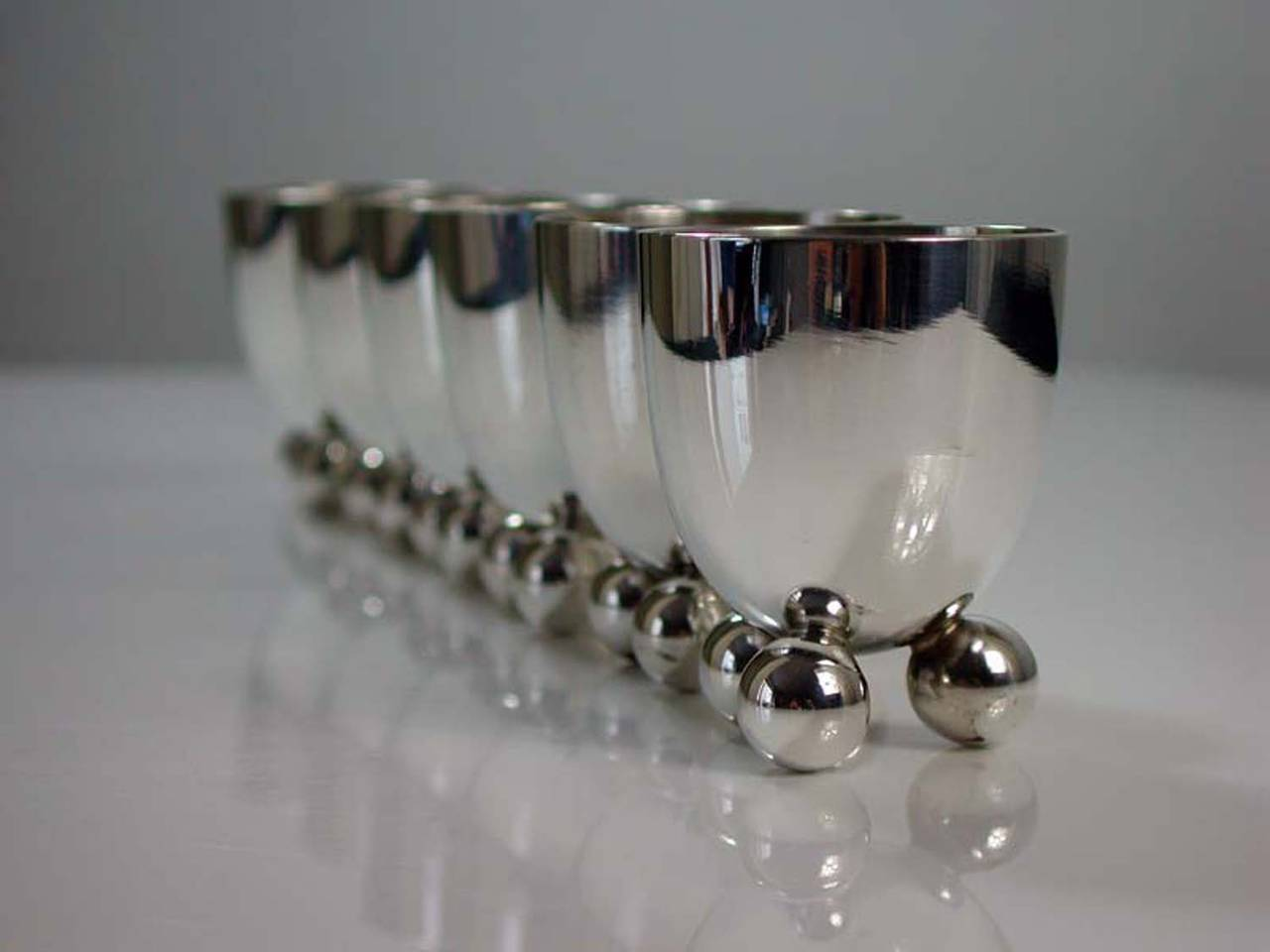 Six WMF Art Deco Silver Plate Egg Cups by Fritz August Breuhaus de Groot For Sale 2