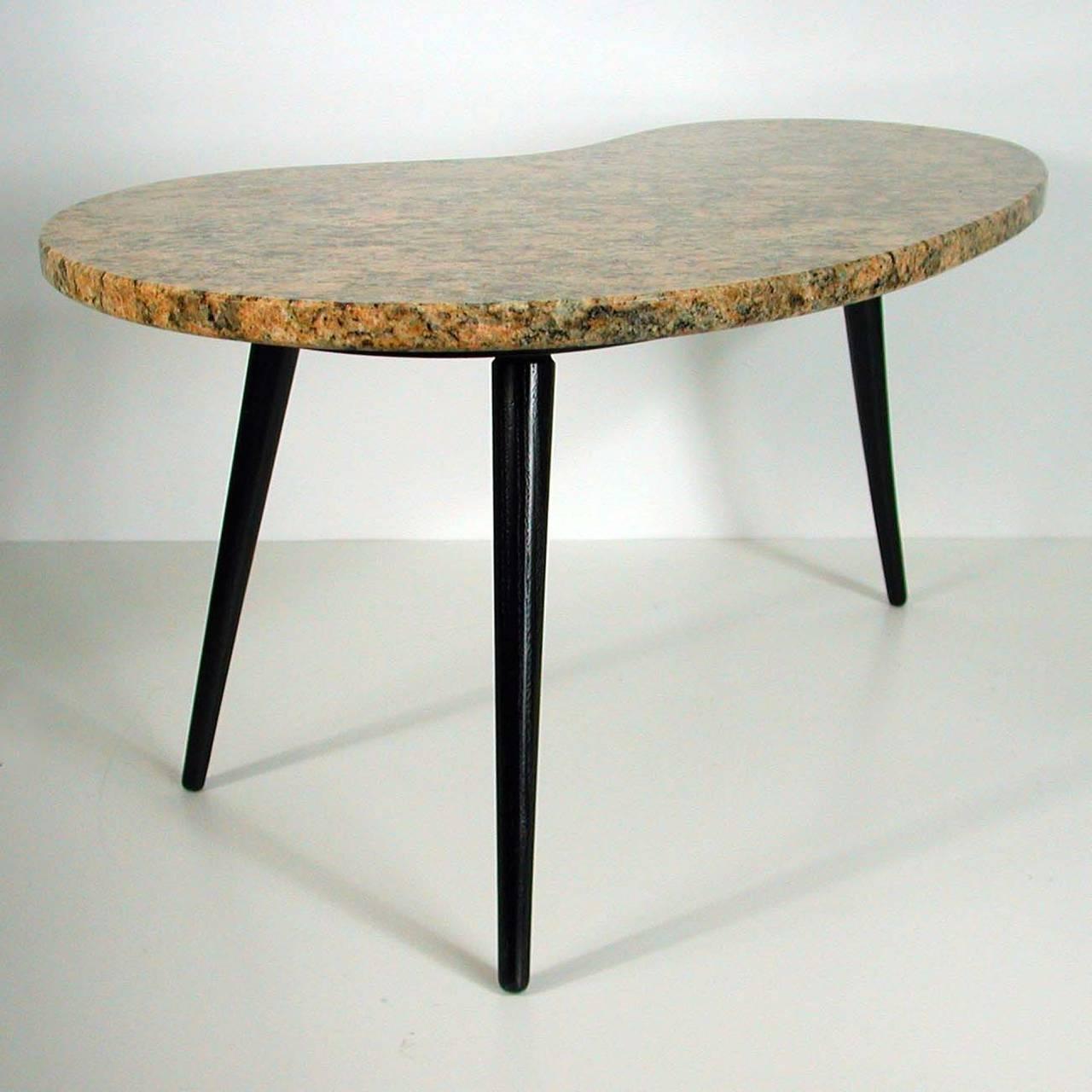Marble Kidney Coffee Table: 1950s Italian Kidney-Shaped Giallo Venetia, Marble Side Or