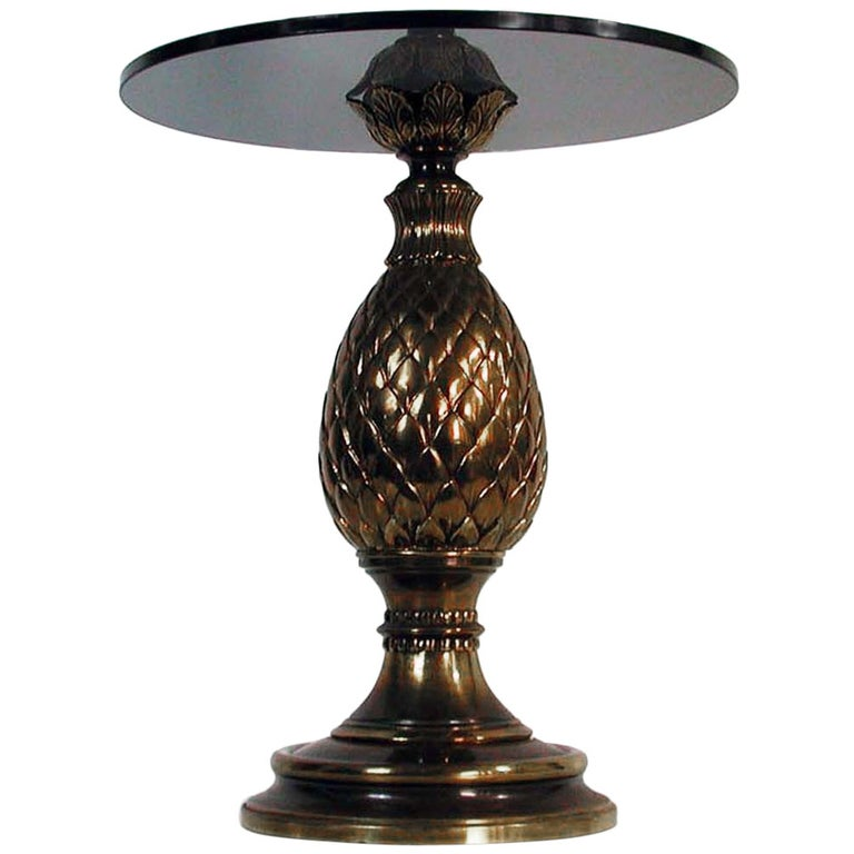 Italian 1950s Bronze and Glass Pine Cone Side Table Cocktail Table For Sale