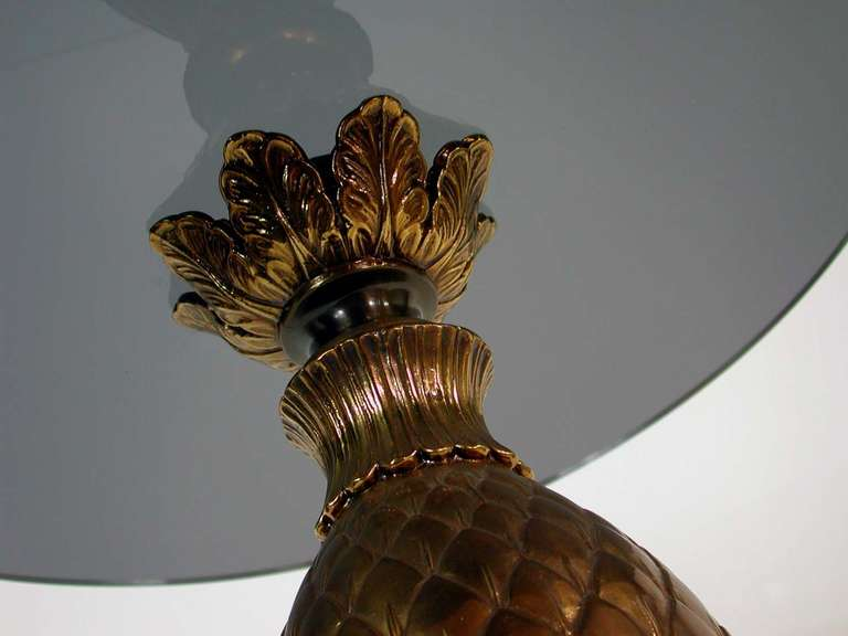 Italian 1950s Bronze and Glass Pine Cone Side Table Cocktail Table For Sale 1