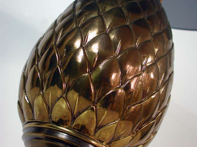 Italian 1950s Bronze and Glass Pine Cone Side Table Cocktail Table For Sale 3