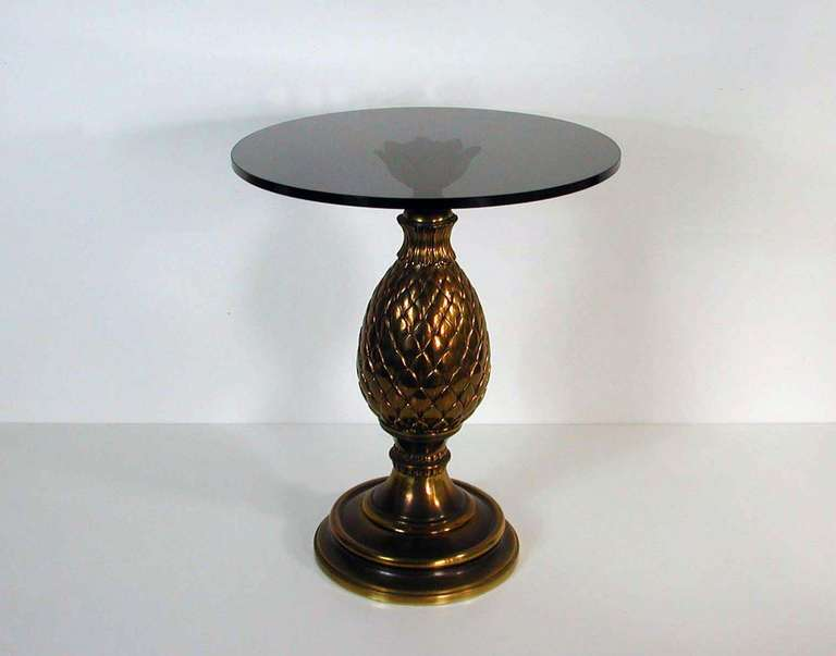Italian 1950s Bronze and Glass Pine Cone Side Table Cocktail Table For Sale 4