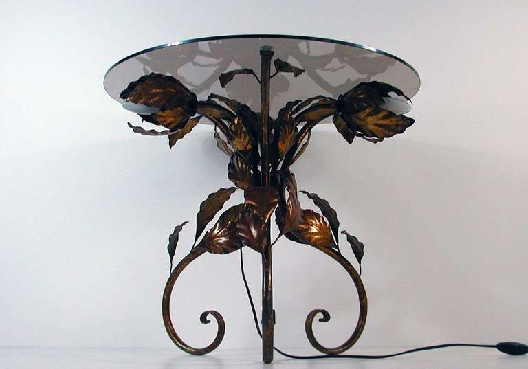 Italian 1950s Bronzed Metal and Tinted Glass Illuminated Coffee Table Side Table 2