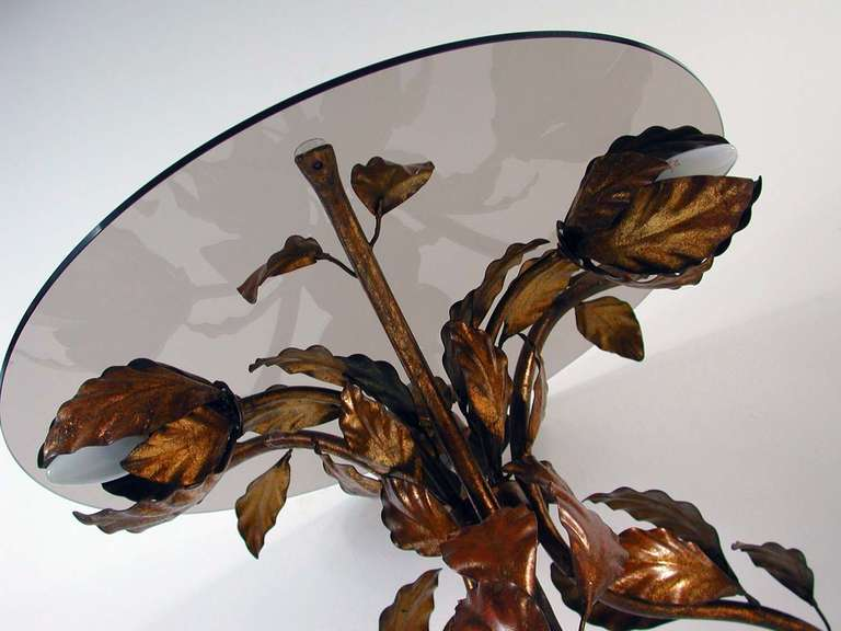 Italian 1950s Bronzed Metal and Tinted Glass Illuminated Coffee Table Side Table 3