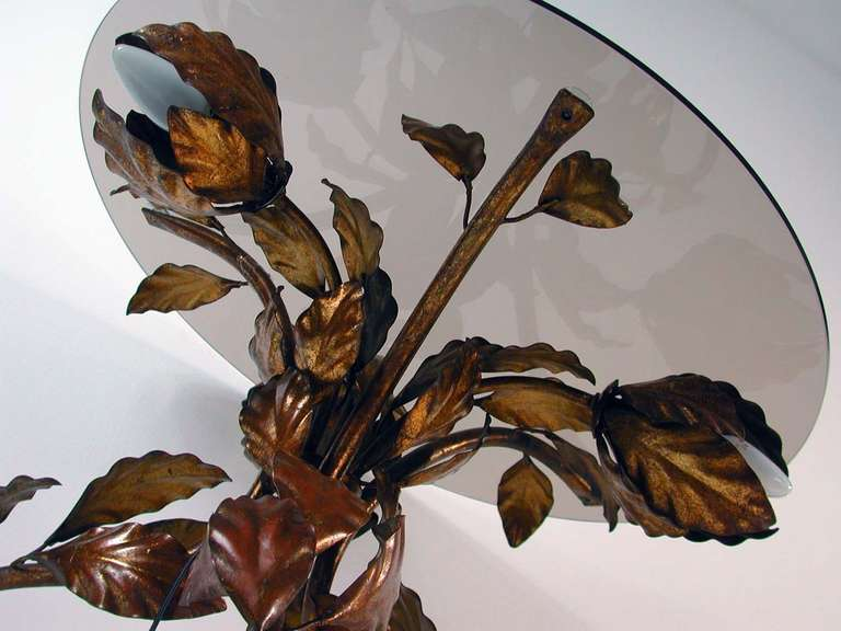 Italian 1950s Bronzed Metal and Tinted Glass Illuminated Coffee Table Side Table 4
