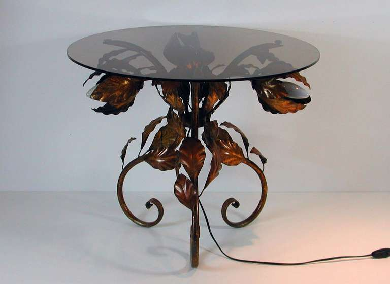 Italian 1950s Bronzed Metal And Tinted Glass Illuminated Coffee Table Side Table For Sale At 1stdibs