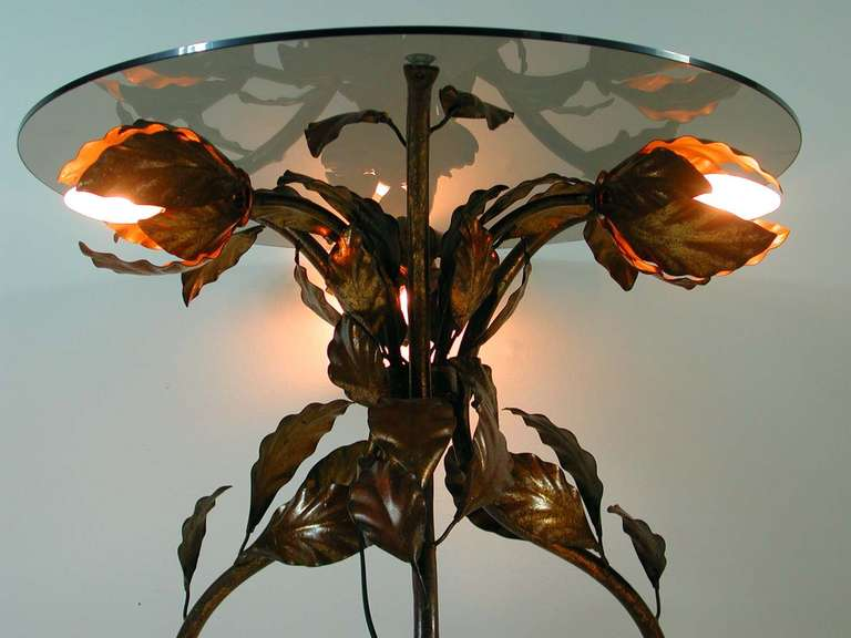 Italian 1950s Bronzed Metal and Tinted Glass Illuminated Coffee Table Side Table 6