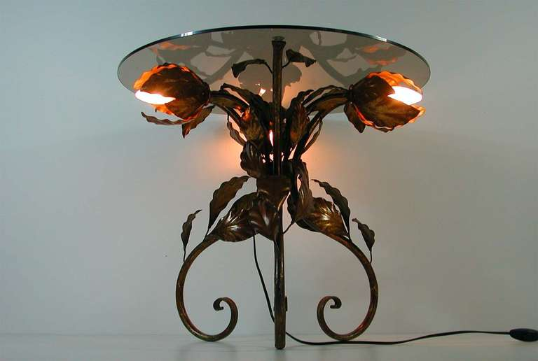 Italian 1950s Bronzed Metal and Tinted Glass Illuminated Coffee Table Side Table 7