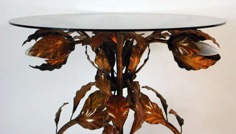 Italian 1950s Bronzed Metal and Tinted Glass Illuminated Coffee Table Side Table 8