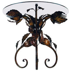 Italian 1950s Bronzed Metal and Tinted Glass Illuminated Coffee Table Side Table