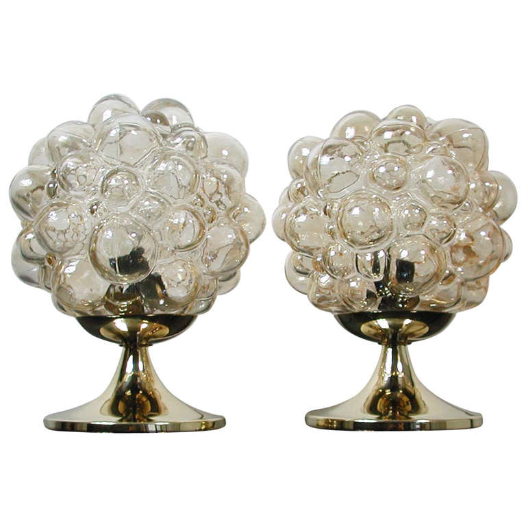Pair 1960s Helena Tynell For Limburg Amber Glass Bubble Table Lamps 1