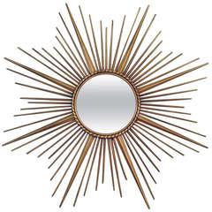 Large French Chaty Vallauris Sunburst Starburst Wall Mirror 1950s