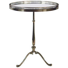1950s Italian Tripod Brass Black Glass Coffee Cocktail Table Hollywood Regency