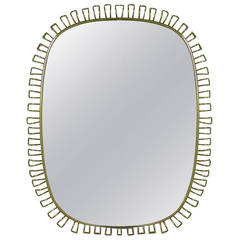 Mid-Century Brass Loop Wall Mirror in the manner of Josef Frank 1950s