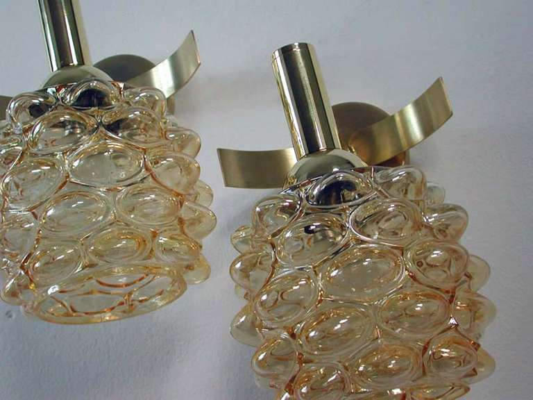 Mid-Century 1960s French Amber Bubble Glass Wall Lamps Sconces For Sale 4