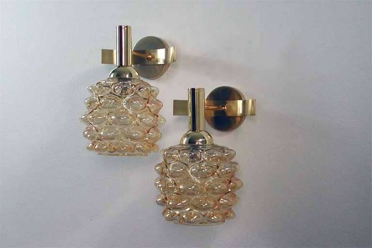 Mid-Century Modern Mid-Century 1960s French Amber Bubble Glass Wall Lamps Sconces For Sale