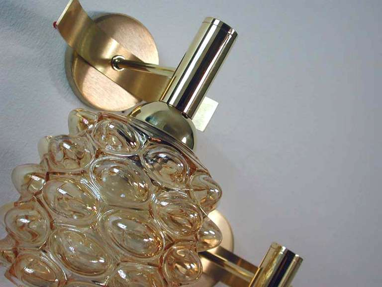 Mid-Century 1960s French Amber Bubble Glass Wall Lamps Sconces In Excellent Condition For Sale In Nümbrecht, NRW