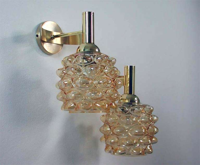 Amber Wall Sconces Glass : Mid-Century 1960s French Amber Bubble Glass Wall Lamps Sconces For Sale at 1stdibs